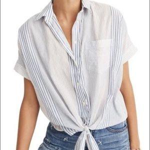 Madewell short sleeve tie front striped Medium EUC